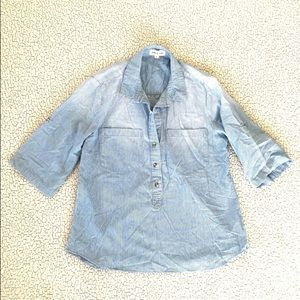 cloth & stone Striped Chambray Popover Tunic Shirt